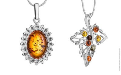 Zdjęcie biżuterii z bursztynem.